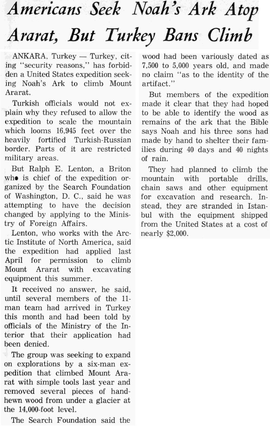 Americans Seek Noah's Ark Atop Ararat, But Turkey Bans Climb
